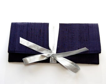 Navy blue Clutch in silk with a silver bow // The ALEXIS Clutch // Slim formal envelope style clutch
