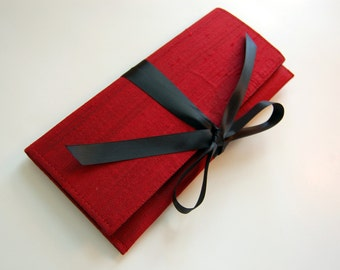 Clutch in cranberry red silk and black bow // the ALEXIS Clutch