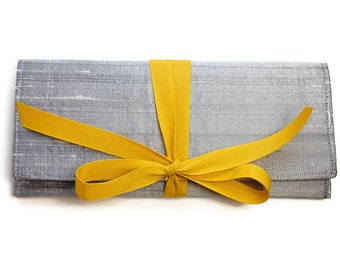 Wedding Clutch in Silver Silk with Mustard yellow // Gray ALEXIS envelope clutch