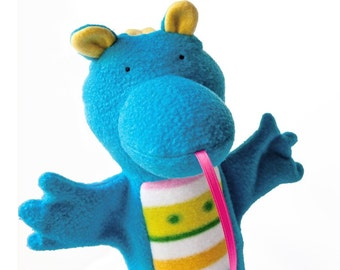 skye the blue baby dragon puppet