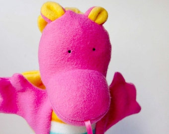 kai the pink baby dragon puppet