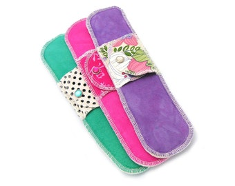 3 Organic Overnight  Moonpads - Reusable Washable Cotton Fabric Menstrual Pads