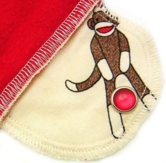 Over Night Organic Moonpads Cloth Pad - Sock Monkeys