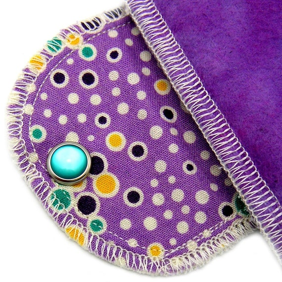 Extra Absorbant Moonpad Organic Reusable Menstrual Pad -  Purple n Dots