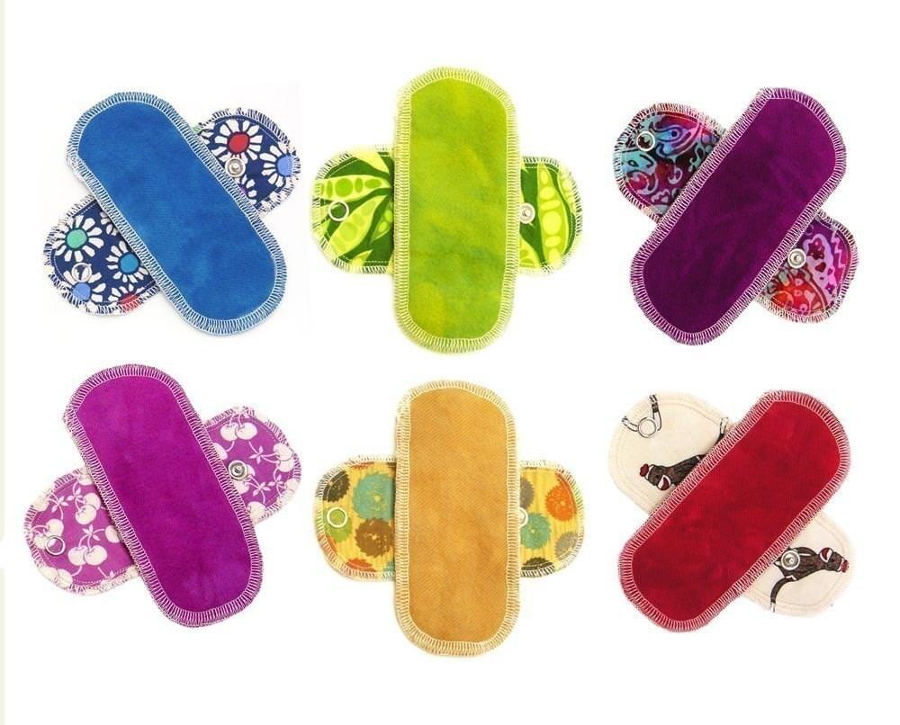 6 Organic Washable Mini Pantyliners Menstrual Pads Cotton