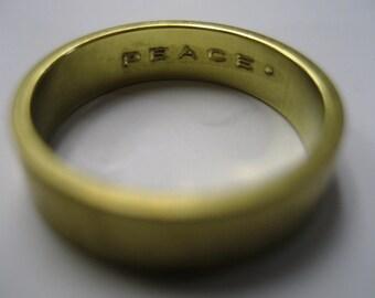 Something Inside Me Block Engraved Brass Ring