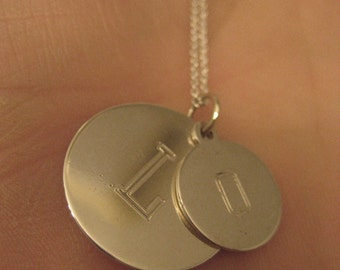 Initial Here Sterling Silver Double Disc Letter Necklace