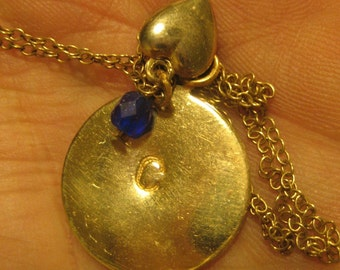 Initial Here Deluxe Brass Initial Necklace With Charm