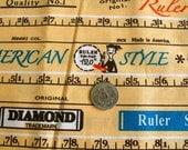 VINTAGE Retro Metric Rulers Fabric 1 FQ Japan