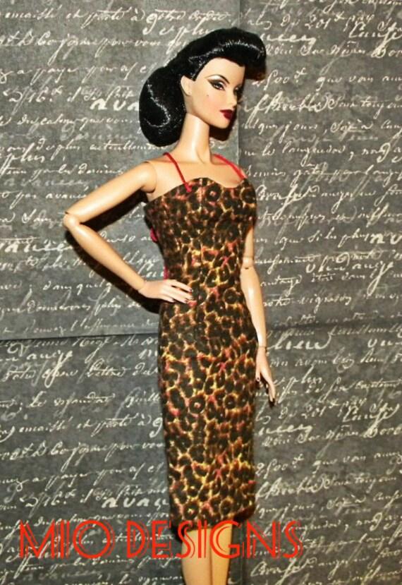 OOAK Pin Up Retro Bettie Page Leopard Dress and Fur Bolero Capelet Ensemble for Fashion Royalty Silkstone Barbie Dolls