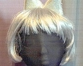 White and silver clip on cat kitty ears