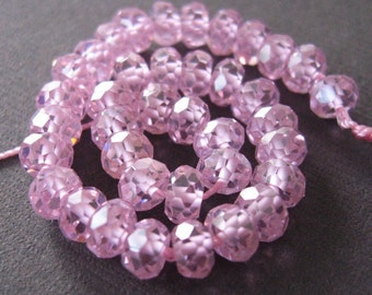 Sparkly Mirco Faceted Pink CZ Rondells