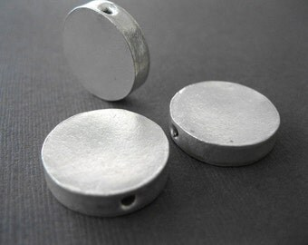 Matte Sterling Round Disk Coin Beads