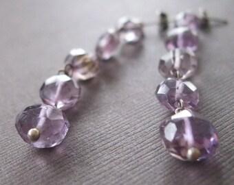 Rustic Amethyst Coin Long Dangle Earrings Amethyst Crystal Earrings Birthstone Earrings- Sample Sale