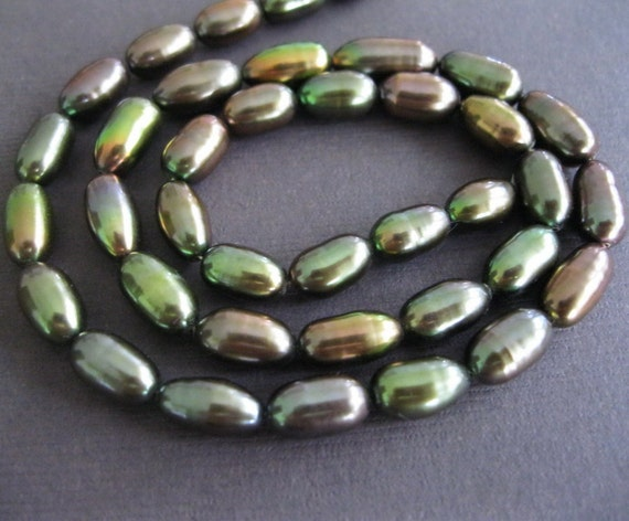 Bronze Copper Green Oval Freshwater Pearls