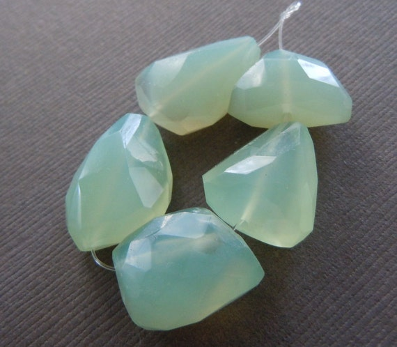 Large Faceted Organic Nuggets of Translucent Sea Foam Moss Green Chalcedony Beads
