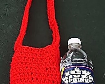 Red Crocheted Water Bottle Carrier - Beverage Tote - Drink Bag - Festival Water Holder - Ready to Ship