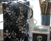 Skull & Crossbones Sock or Small Project Bag for Knit, Crochet, Spindle