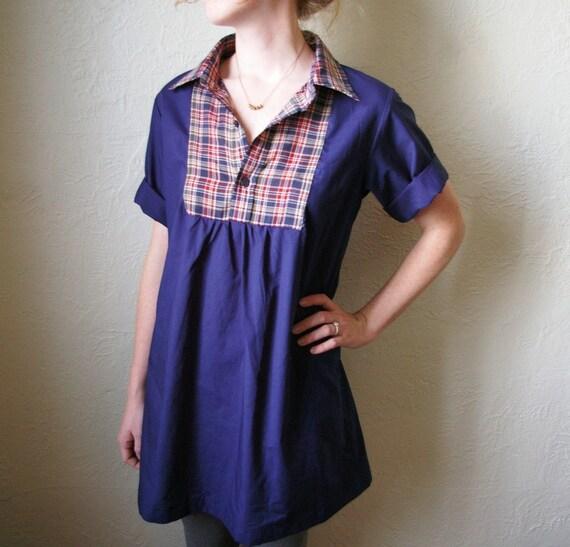 Upcycled Plaid Shift Dress