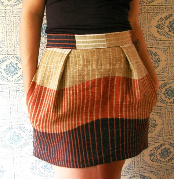 Harvest Printed Linen Skirt FREE SHIPPING