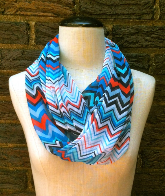 Sheer Lightweight Chevron Infinity Circle Loop Summer to Fall Scarf red white blue
