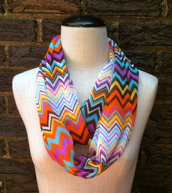 Sheer Lightweight Chevron Infinity Circle Loop Summer to Fall Scarf orange purple mint yellow