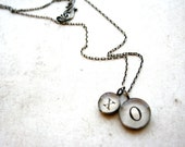 Bridal necklace sterling silver xo