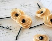 recycled poppy bobbypins set--butter