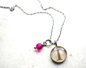 monogram necklace - neon pink