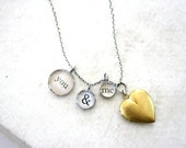 heart locket necklace with recycled silver, vintage locket and rustic words