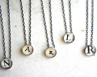 initial necklace, monogram necklace, silver alphabet necklace, personalized necklace