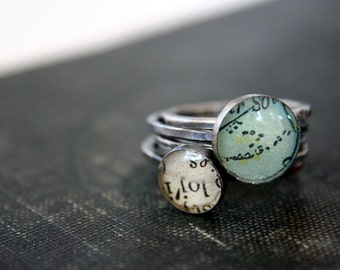 turquoise ring, map ring stack, sterling silver rings, stacking ring, resin ring