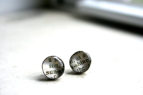 stud earrings - recycled sterling silver sun shine