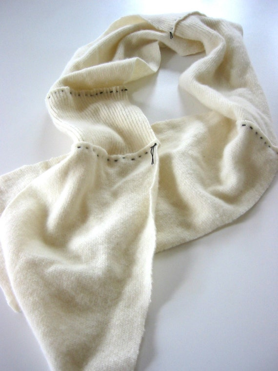 Stitched Scarf in Ivory