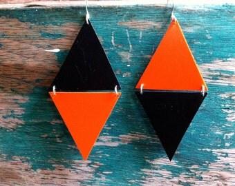 Rhombus- Upcycled orange and black earrings