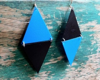 Rhombus- Upcycled blue and black earrings