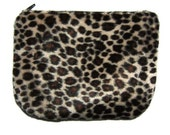 Zip Pouch - Leopard Faux fur
