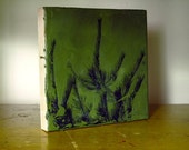 SALE Green 2 Nature Square encaustic painting