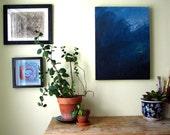 Blue Meta original casein painting