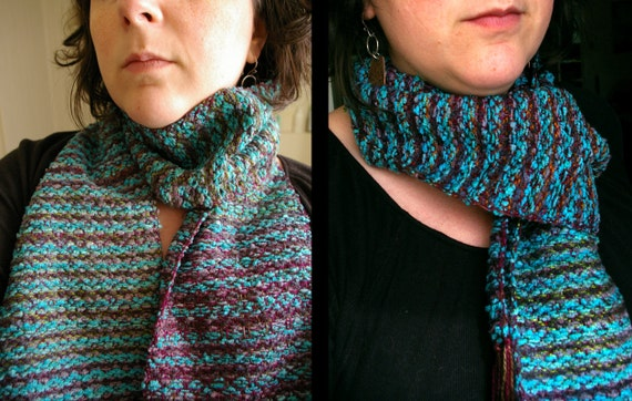 Ocean Blue and Jeweled Purple woven scarf