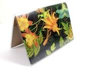 Passport Cover - Dark Paradise tropical floral - island passport holder - black orange and green