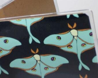 passport cover - Luna Moths - black and green moth print women's passport holder - fits US passports
