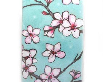 Passport Cover - Sweet Sakura Cherry Blossoms floral passport holder - cute travel accessory - pink, aqua, flowers