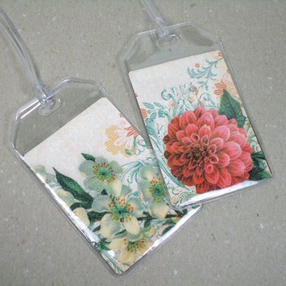 Luggage Tags -  Set of Two - Sweet Dahlia Floral