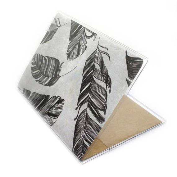 Passport Cover - Stylish Feathers -  grey and black modern feather print passport holder - men's or women's unisex travel accessory gift