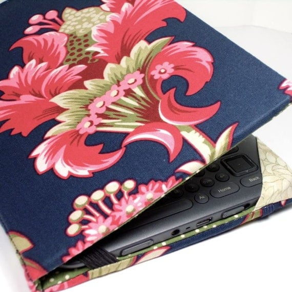Kindle Keyboard cover - Navy and Rose Floral - hard sided kindle 3 cover - ready to ship