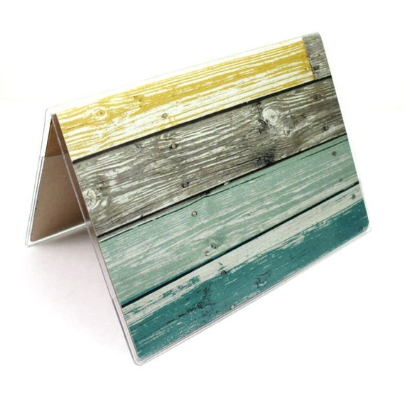 Passport Cover - Pale weathered barnwood  - teal and lemon