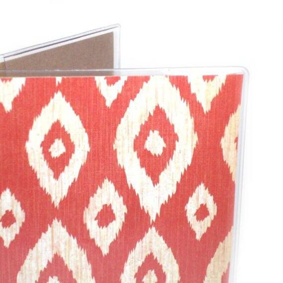 cute Passport Cover - Red Ikat  - passport holder - orangey red and cream diamond pattern