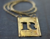Antique Brass Stencil Necklace, Letter R from the 1940's