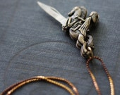 Pocket Knife Necklace Caped Lady Riding Hood Horse